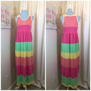 Old Navy Maxi Dress Pink Coral Stripe, Size XXL